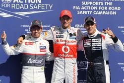 Polepositie Jenson Button, McLaren Mercedes met 2de Kamui Kobayashi, Sauber F1 Team en 3de Pastor Ma