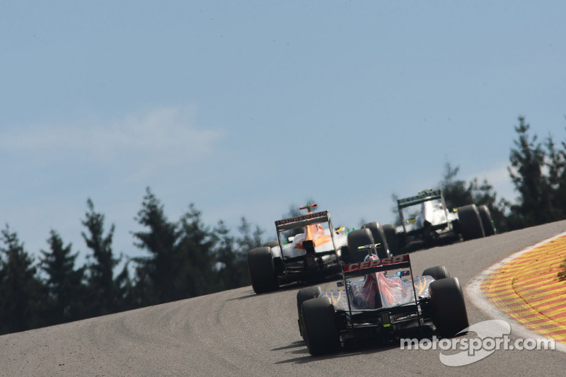 Jean-Eric Vergne, Scuderia Toro Rosso, Paul di Resta, Sahara Force India Formula One Team en Nico Rosberg, Mercedes GP