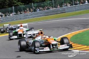 Nico Hulkenberg, Sahara Force India F1 leads Paul di Resta, Sahara Force India