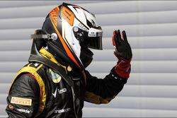 Kimi Raikkonen, Lotus F1 Team viert derde plaats in parc ferme