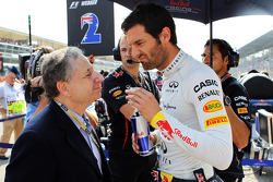 Mark Webber, Red Bull Racing on the grid with Jean Todt, FIA President