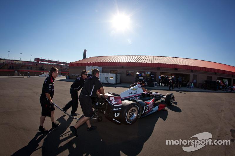 Car of Ryan Briscoe, Team Penske Chevrolet at technical inspection