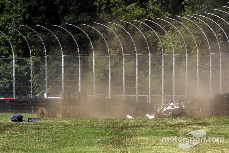 Heavy crash for #8 Merchant Services Racing Oreca FLM09: Kyle Marcelli, Lucas Downs