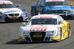 Timo Scheider, Audi Sport Team ABT Sportsline Audi A5 DTM leads Roberto Merhi, Persson Motorsport AMG Mercedes C-Coupe and Joey Hand, BMW Team RMG BMW M3 DTM
