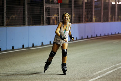 Roller blading around the circuit