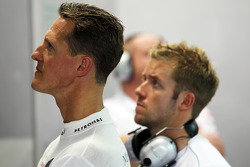 Michael Schumacher, Mercedes AMG F1 and Sam Bird, Mercedes AMG F1