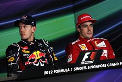 FIA press conference: race winner Sebastian Vettel, Red Bull Racing, third place Fernando Alonso, Scuderia Ferrari