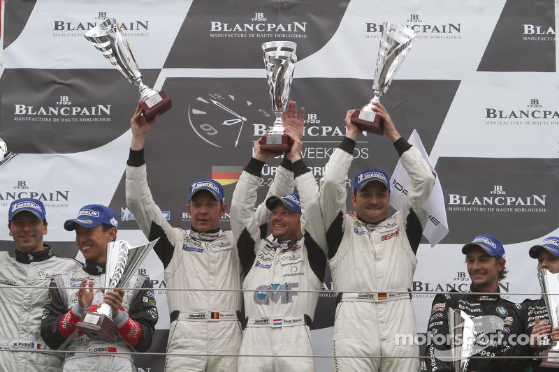 Podium: race winners Marc Goossens, Xavier Maassen, Marc Hennerici