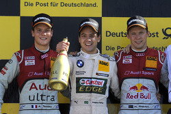 Podium: race winner Augusto Farfus Jr., BMW Team RBM; second place Adrien Tambay, Audi Sport Team Abt; third place Mattias Ekström, ABT Sportsline