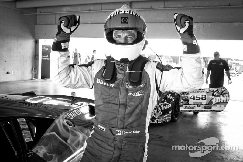 Race winner #31 Ferrari of Ontario 458CS: Damon Ockey celebrates