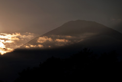 The sun sets over Mt. Fuji