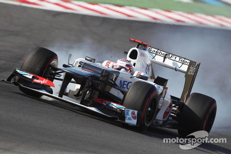Kamui Kobayashi, Sauber locks up under braking
