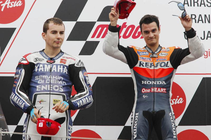 Podium: winner Dani Pedrosa, Repsol Honda Team, second place Jorge Lorenzo, Yamaha Factory Racing