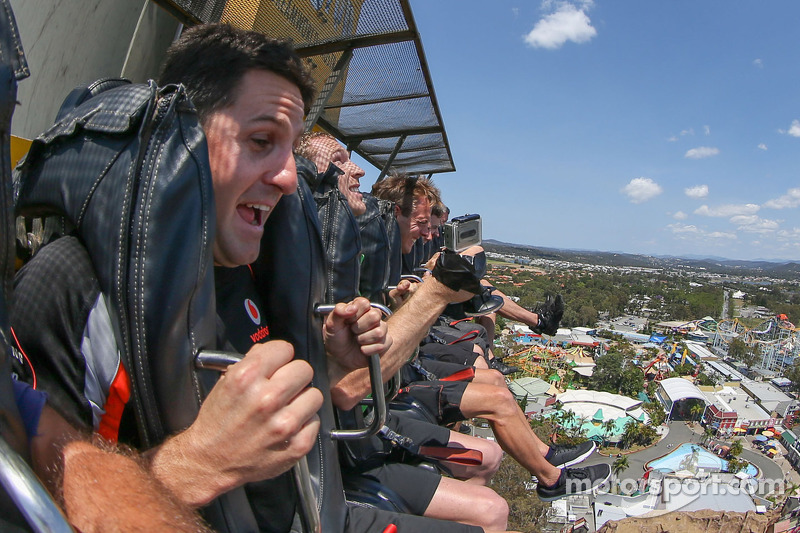 Jamie Whincup rides the Giant Drop at Dreamworld