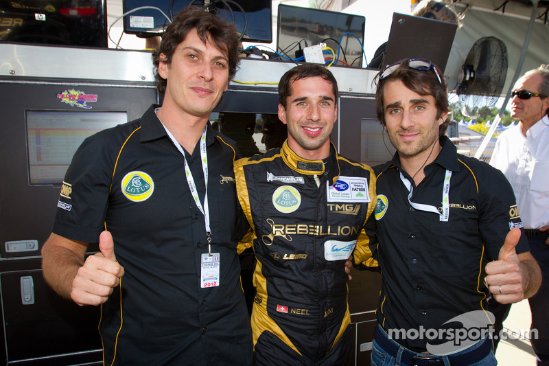 P1 and overall pole winner Neel Jani celebrates with teammates Andrea Belicchi and Nicolas Prost