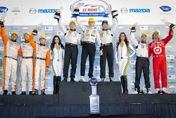 P2 podium: class winners Scott Tucker, Christophe Bouchut, Luis Diaz, second place Martin Plowman, David Heinemeier Hansson, Eric Lux, third place Dario Franchitti, Marino Franchitti