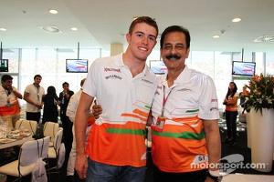 Paul di Resta, Sahara Force India F1 with Subrata Roy Sahara, Sahara Chairman, at the Sahara Force India F1 Team Paddock Club