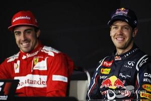 Fernando Alonso, Ferrari and race winner Sebastian Vettel, Red Bull Racing in the FIA Press Conference