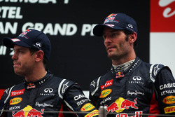 Race winnaar Sebastian Vettel, Red Bull Racing en Mark Webber, Red Bull Racing op podium