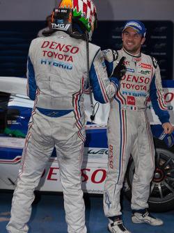 Race winners Alexander Wurz and Nicolas Lapierre celebrate their victory