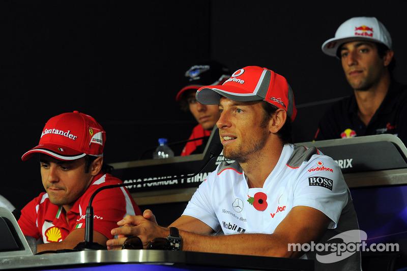 Felipe Massa, Ferrari en Jenson Button, McLaren in de FIA persconferentie
