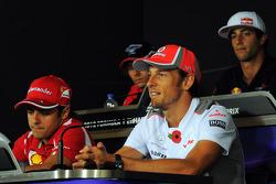 Felipe Massa, Ferrari and Jenson Button, McLaren in the FIA Press Conference