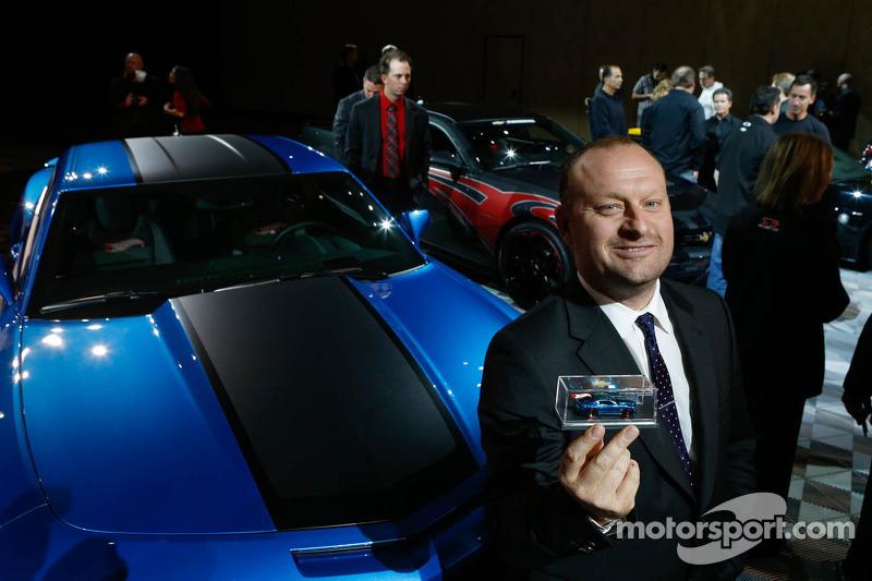 Hot Wheels Vice President of Design Felix Holst shows off the new Hot Wheels Camaro