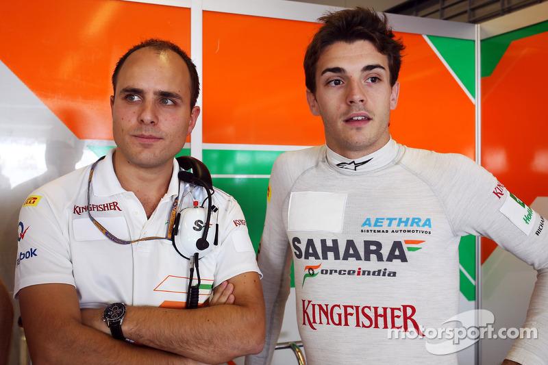 Jules Bianchi, Sahara Force India F1 Team Third Driver, with Gianpiero Lambiase, Sahara Force India F1 Engineer