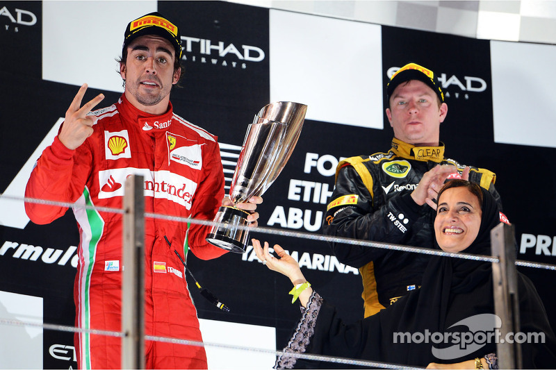 Fernando Alonso, Ferrari celebrates his second position on the podium