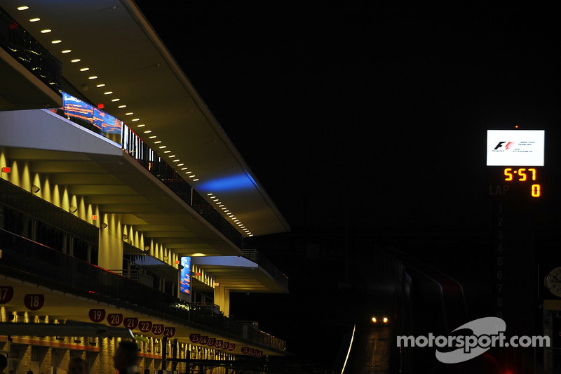 Pit lane at night
