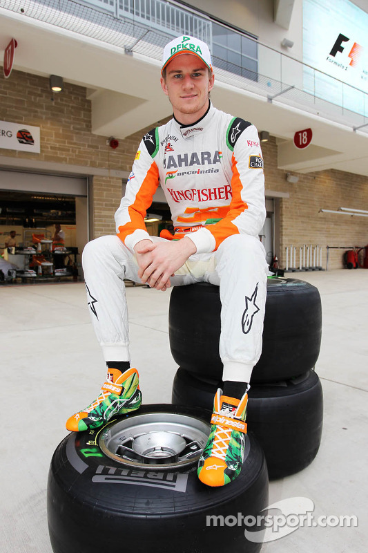 Nico Hulkenberg, Sahara Force India F1 with his Alpinestars boots designed by a competition winner