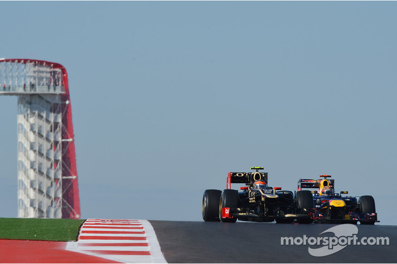 Romain Grosjean, Lotus F1 en Sebastian Vettel, Red Bull Racing