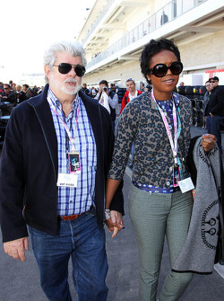 George Lucas, Star Wars Creator with his partner Mellody Hobson