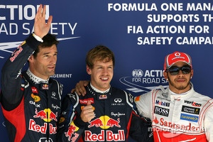 Mark Webber, Red Bull Racing, Sebastian Vettel, Red Bull Racing and Lewis Hamilton, McLaren Mercedes