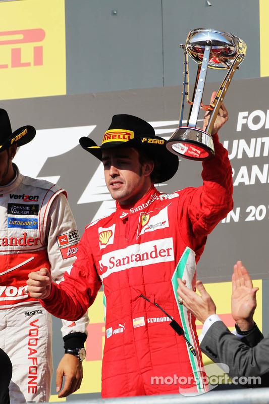 Fernando Alonso, Ferrari celebrates his third position on the podium