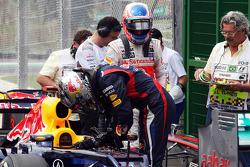 Sebastian Vettel, Red Bull Racing and Jenson Button, McLaren in parc ferme