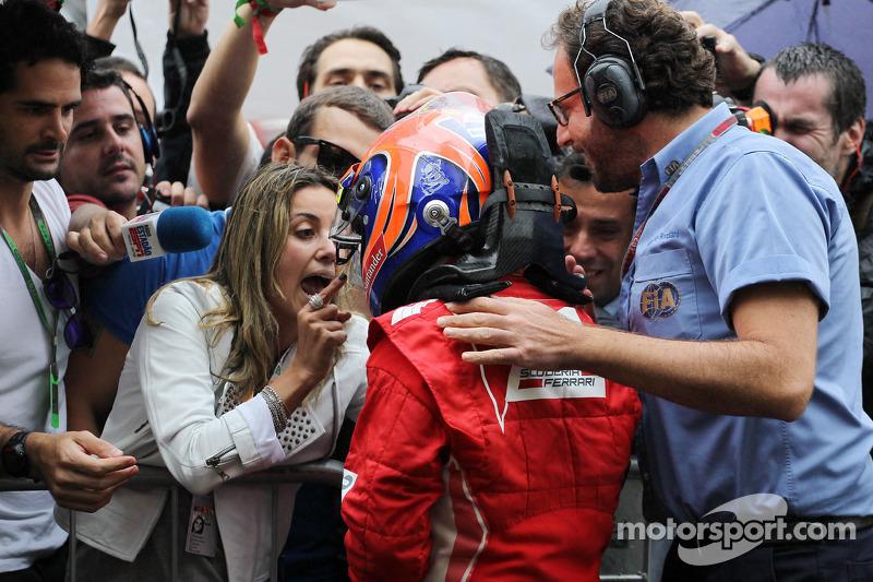 Felipe Massa, Ferrari viert derde plaats in parc ferme met vrouw Rafaela Bassi