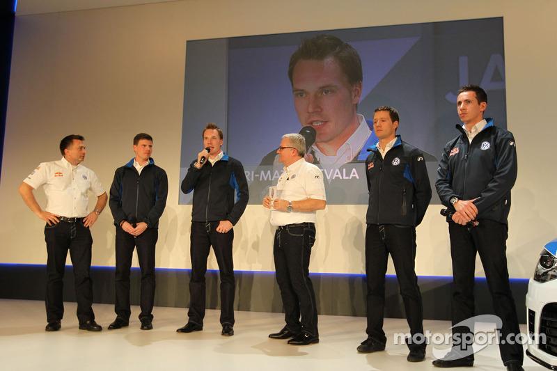 Яри-Матти Латвала, Микка Антила, Себастьен Ожье и Жюльен Инграссиа. Презентация Volkswagen Polo R WRC, презентация.