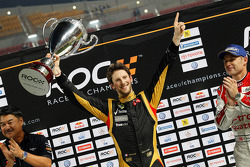 Winner Romain Grosjean celebrates