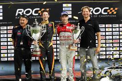 Winner Romain Grosjean celebrates with second place Tom Kristensen
