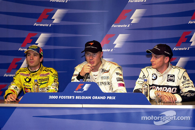 Post-qualifying press conference: pole position Mika Hakkinen, second place Jarno Trulli, third place Jenson Button