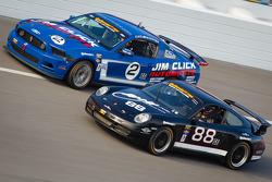 #2 Jim Click Racing Mustang Boss 302R GT: Jim Click, Mike McGovern, #88 Ranger Sports Racing Porsche 997: Barry Ellis, Frank Rossi, Fraser Wellon
