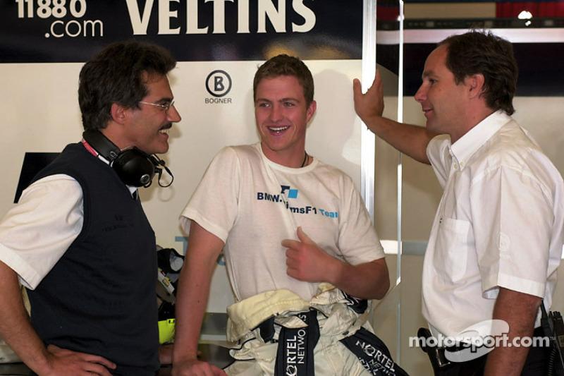 Hoofd van BMW Motorsport Dr. Mario Theissen, Ralf Schumacher en Gerhard Berger