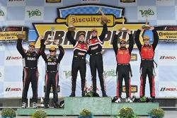 Podium: race winners Dillon Machavern, Dylan Murcott, RS1, second place Dean Martin, Jack Roush Jr. KohR Motorsports, third place Matt Bell, Robin Liddell, Stevenson Motorsports