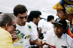 Gerard Ducarouge, Lotus Designer, Ayrton Senna, Lotus, Osamu Goto, Honda Racing Team Leader, and Steve Hallam, Lotus Engineer
