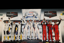 GTLM podium: winners Bill Auberlen, Alexander Sims, Kuno Wittmer, BMW Team RLL, second place Antonio Garcia, Jan Magnussen, Mike Rockenfeller, Corvette Racing, third place Toni Vilander, Giancarlo Fisichella, Alessandro Pier Guidi, Risi Competizione