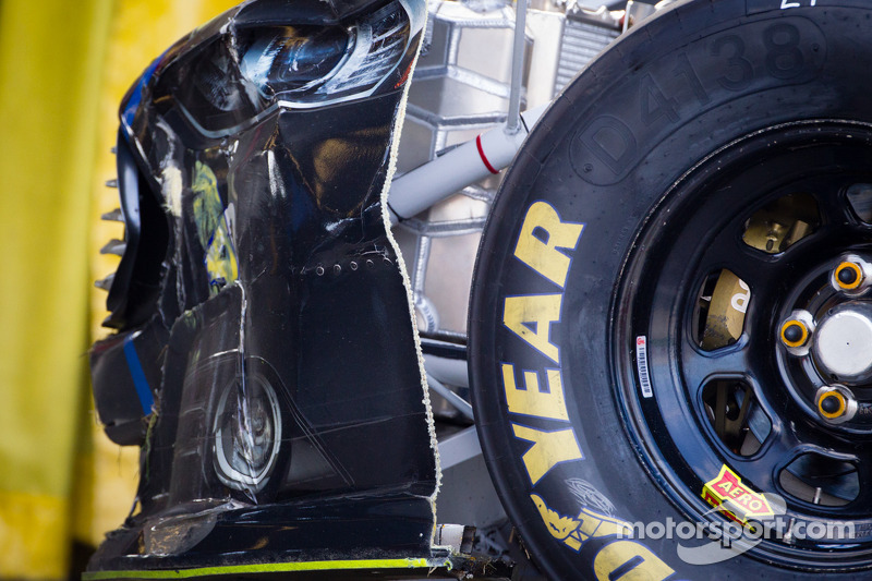 Wrecked car of Aric Almirola, Richard Petty Motorsports Ford