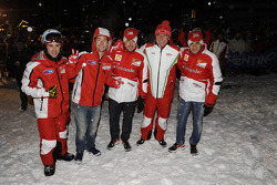 Andrea Dovizioso and Nicky Hayden, Ducati Marlboro Team, Fernando Alonso and Felipe Massa, Scuderia Ferrari with Stefano Domenicali