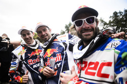 Bike winner Cyril Despres and second place Ruben Faria with Francisco Lopez