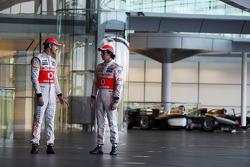 Jenson Button, McLaren with team mate Sergio Perez, McLaren